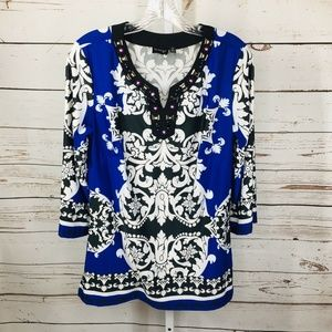 La Vanya Womens Embellished Tunic Size M